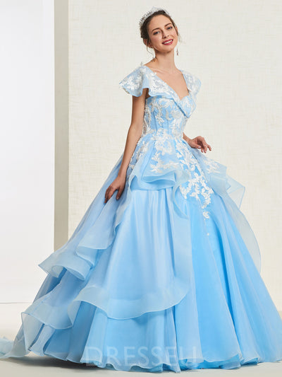 Ball Gown Cap Sleeves Floor-Length Tiered Quinceanera Dress