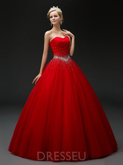 Floor-Length Ball Gown Sweetheart Beading Quinceanera Dress