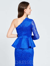 Lace Short/Mini One Shoulder Long Sleeves Homecoming Dress