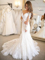 Trumpet V-Neck Long Sleeves Floor-Length Tulle Wedding Dress Bride Gown
