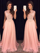 Appliques Sleeveless Chiffon A-Line Prom Dress