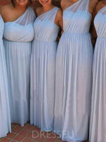 Sleeveless Floor-Length One Shoulder A-Line Bridesmaid Dress