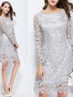 Scoop Long Sleeves Knee-Length Lace Cocktail Dress