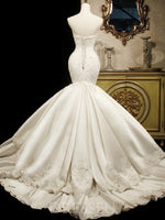 Trumpet/Mermaid Court Train Sweetheart Satin Appliques Wedding Dress