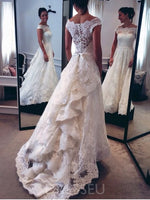 A-Line Off-The-Shoulder Floor-Length Button Lace Wedding Dress