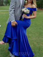Dark Royal Blue Off-The-Shoulder Sweep Train Mermaid Long Prom Dress