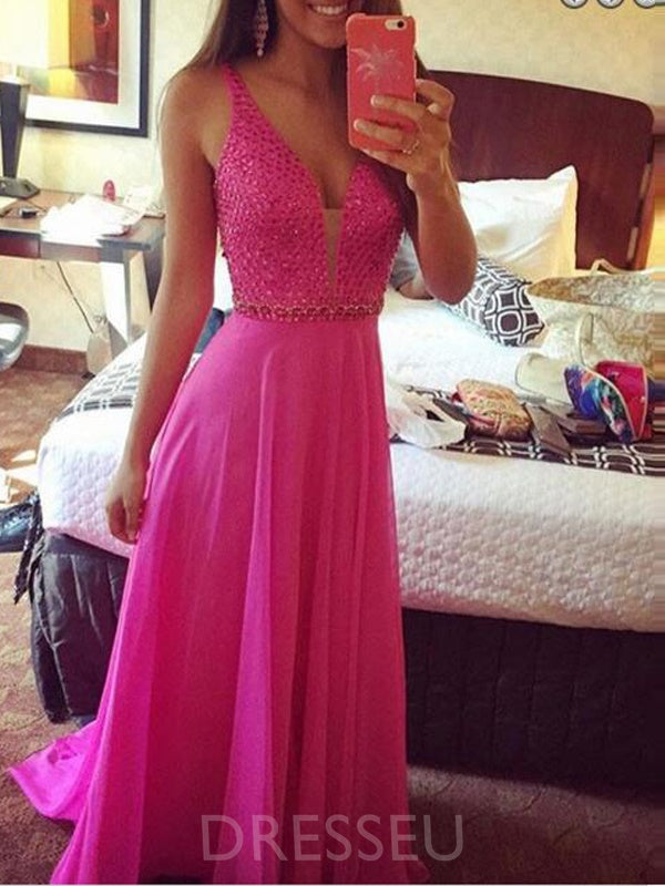A-Line Court Sleeveless Beading Prom Dress