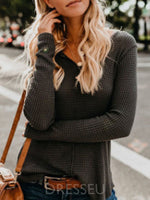 Regular V-Neck Long Sleeve Sweater