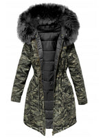 Patchwork Zipper Slim Long Cotton Padded Jacket