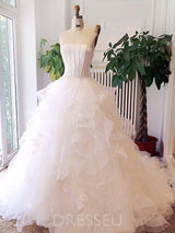 Court Train Strapless Ball Gown Tiered Tulle Wedding Dress