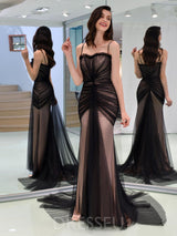 Spaghetti Straps Floor-Length Pleats Sleeveless Tulle Evening Dress