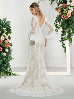 V-Neck A-Line Floor-Length Appliques Church Wedding Dress