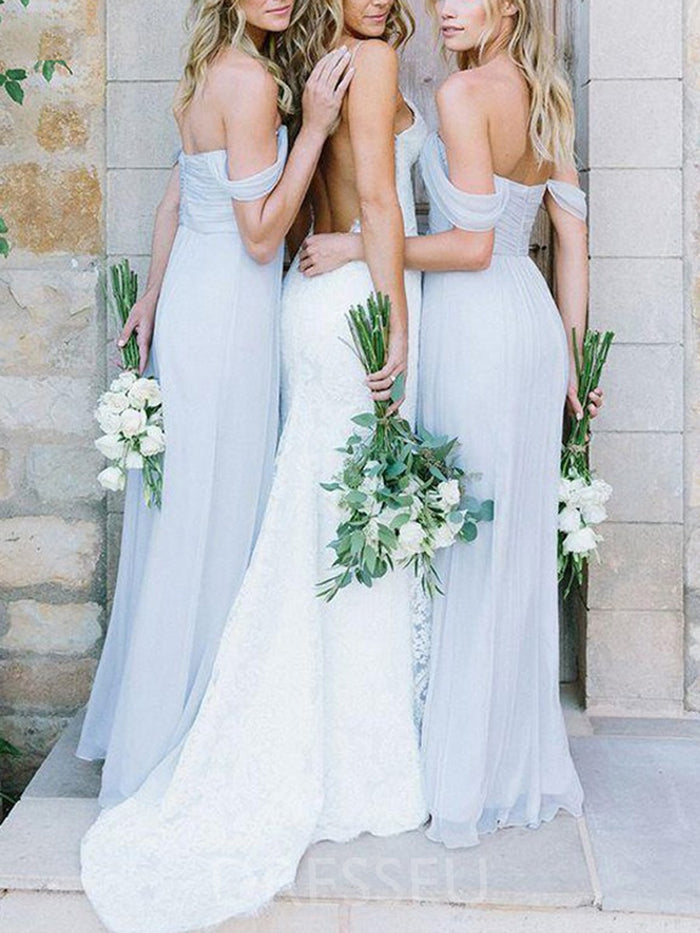 Pleats Sleeveless Floor-Length A-Line Bridesmaid Dress