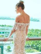 Chapel Lace Off-The-Shoulder Floor-Length Hall Wedding Dress
