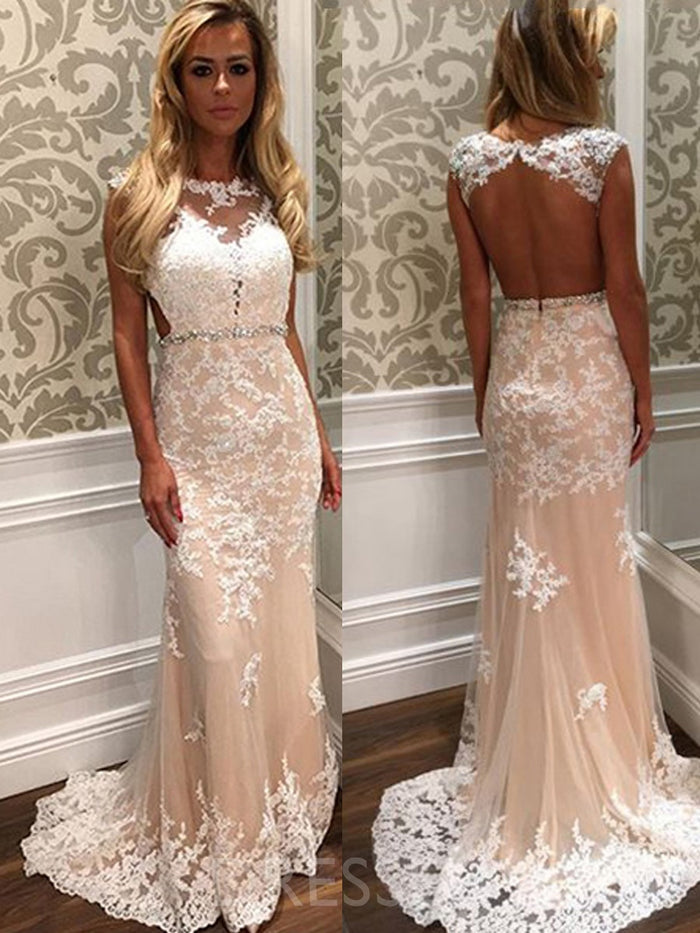 Floor-Length Sweep/Brush Appliques Straps Wedding Dress