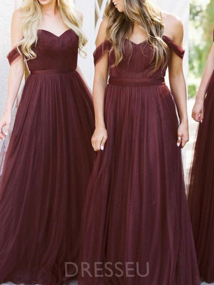 Floor-Length Off-The-Shoulder Pleats Sleeveless Bridesmaid Dress