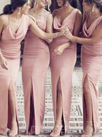 Split-Front Sleeveless Floor-Length Sheath/Column Bridesmaid Dress