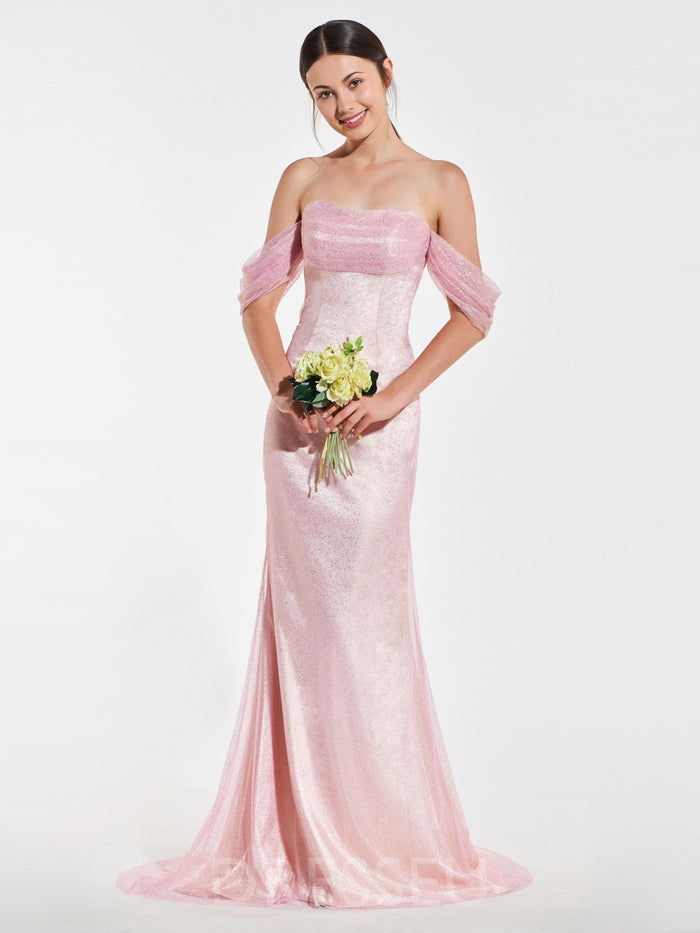 Trumpet/Mermaid Floor-Length Off-The-Shoulder Sequins Bridesmaid Dress