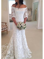 Off Shoulder Trumpet/Mermaid Half Sleeves Floor-Length Lace Wedding Dress