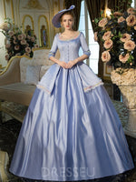 Floor-Length Ball Gown Cascading Ruffles Half Sleeves Quinceanera Dress