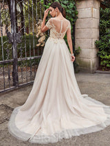 Appliques Short Sleeves Floor-Length Scoop Luxury Wedding Dress