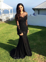 Long Sleeves Trumpet/Mermaid Scoop Appliques Evening Dress