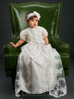 Long Lace Appliques Baby Girls Christening Gown with Bonnet