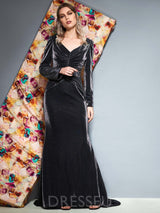 Long Sleeves Floor-Length V-Neck Trumpet/Mermaid Evening Dress