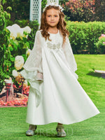 A-Line Long Sleeves Ankle-Length Matte Satin Flower Girl Dress
