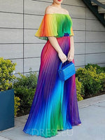Half Sleeve Off Shoulder Floor-Length Pullover Color Block Dress