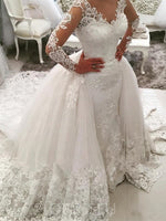Ball Gown V-neck Long Sleeves Cathedral Train Applique Lace Tulle Wedding Dresses