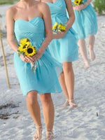 A-Line Pleats Sleeveless Knee-Length Bridesmaid Dress