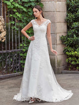 A-Line V-Neck Cap Sleeves Floor-Length Lace Wedding Dress