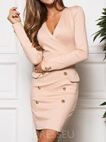 V-Neck Button Long Sleeve Bodycon Plain Dress