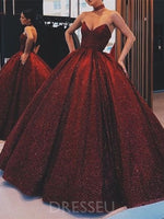 Burgundy Long Ball Gown Sleeveless V-Neck Prom Dress