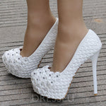 Appliques Stiletto Heel Slip-On Round Toe Plain Wedding Thin Shoes