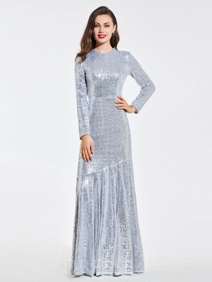 Long Sleeves Floor-Length Sequins Scoop Evening Dress