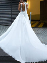 Floor-Length Sleeveless A-Line Lace Beach Wedding Dress