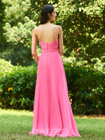 Strapless A-Line Sleeveless Lace 30D Chiffon Bridesmaid Dress