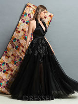 V-Neck Appliques Sleeveless Floor-Length Evening Dress