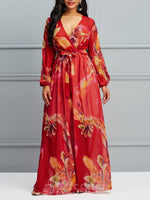 Long Sleeve Expansion Print V Neck Women's Maxi Dress