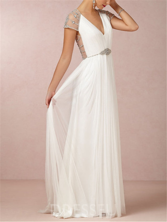 V-Neck Beading Floor-Length Sleeveless Wedding Dress