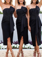 Sleeveless Bowknot Strapless Tea-Length Bridesmaid Dress
