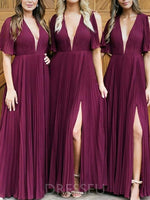 Short Sleeves A-Line Floor-Length V-Neck Bridesmaid Dress