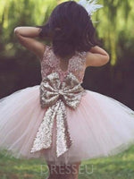 Sleeveless Short/Mini Sequins Scoop Flower Girl Dress