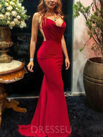 Sweep/Brush Floor-Length Trumpet/Mermaid Spaghetti Straps Prom Dress