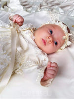 Long Sleeve Tulle Appliques Bowknot Christening Gown