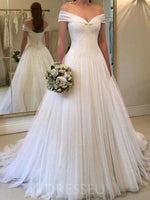 Floor-Length Ruched Off-The-Shoulder A-Line Garden/Outdoor Wedding Dress