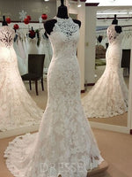 Halter Sleeveless Appliques Court Train Mermaid Lace Wedding Dress