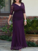 Pleats V-Neck Floor-Length Sheath/Column Mother of the Bride Dress